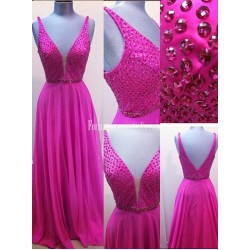 Deep V-neck Beading Fuchsia Empire Long Chiffon Prom Dresses Formal Evening Gowns