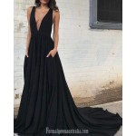 Ball Gown Plunging Neck Court Train Black Low Back Formal Dress Prom Dress With Pockets New