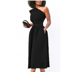 A Line One Shoulder Tea Length Pockets Semi Formal Dress