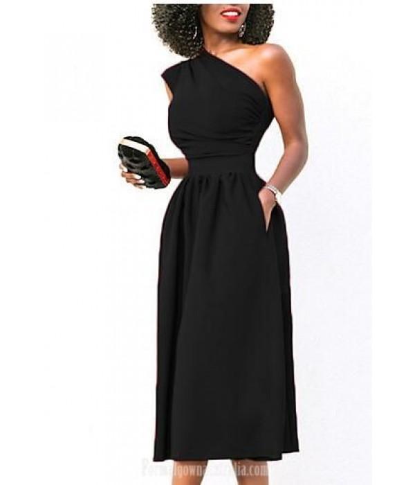 A-Line One Shoulder Tea-Length Pockets Semi Formal Dress New