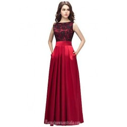 A-Line Jewel-Neck Appliques Floor-Length Red Formal Evening Dress With Pockets
