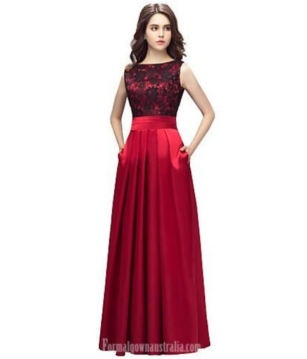 A-Line Jewel-Neck Appliques Floor-Length Red Formal Dress Evening Gowns With Pockets New
