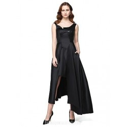 A-Line Asymmetrical Long Black Satin Cheap Formal Dress Online With Pockets