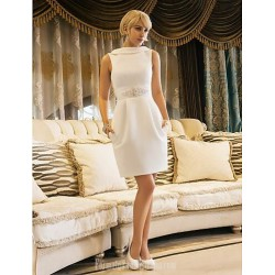 Elegant Short White Jewel-Neck Blackless Formal Cocktail Dress With Pockets