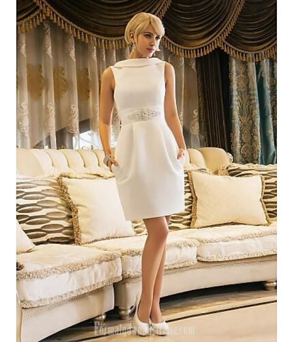Elegant Short White Jewel-Neck Blackless Formal Cocktail Dress With Pockets New