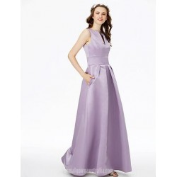 A-Line Floor-Length Lilac Satin V-Wire Neck Formal Party Dress With Pockets