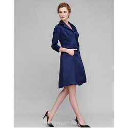 Sexy Short Royal Blue Formal Dress With Long Sleeved Coat Pockets