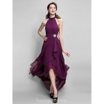 Sexy Halter-Neck Asymmetrical Tulle Bacless High-Low Fuchsia Formal Dress Party Dress New