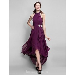 Sexy Halter-Neck Asymmetrical Tulle Bacless High-Low Fuchsia Formal Dress Party Dress