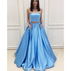 Ball Gown Blue Satin Pockets With Beading Strapless Two Piece Formal Dress