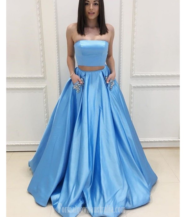 Ball Gown Blue Satin Pockets With Beading Strapless Two Piece Formal Dress New