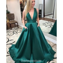 New Princess Pluning Neck Green Pockets Formal Dress Party Dress Criss Cross Back With Bow Sleeveless Satin Evening Dress