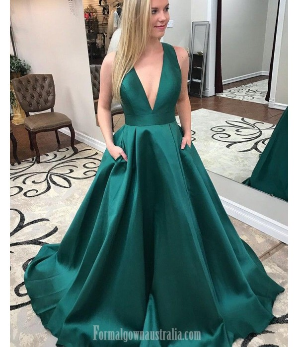 New Princess Pluning Neck Green Pockets Formal Dress Party Dress Criss Cross Back With Bow Sleeveless Satin Evening Dress New