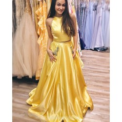 High Neck  Yellow Satin Pockets With Beading Long Princess Two Piece Formal Dress