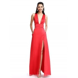 A-Line Floor-Length V-Neck Evening Dress Front Slit Zipper Back Sleeveless Formal Party Dress With Pockets