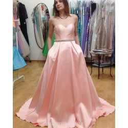 A-Line Sweethear Sleeveless Pink Satin Princess Formal Dress With Pockets