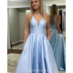 Designer Princess V Neck V Back Sky Blue Satin Formal Dress Prom Dress With Pockets