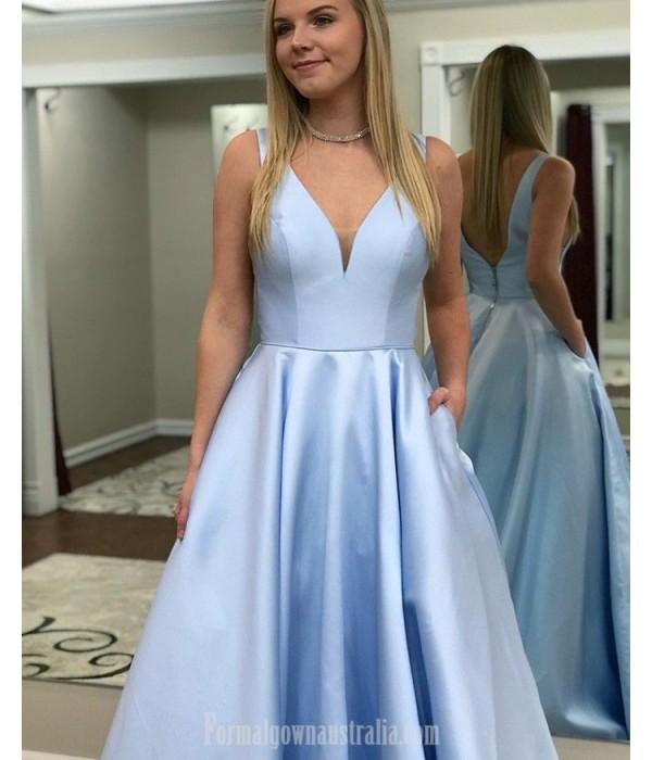 Designer Princess V-Neck/V-Back Sky Blue Satin Formal Dress Prom Dress With Pockets New