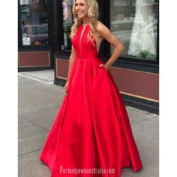 Ball Gown V-Wire Red Satin Princess Formal Dress Evening Gowns With Pockets
