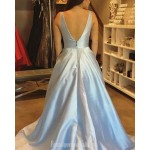 Elegant Long Sky Blue Satin Evening Dress Y-Neck Pockets Zipper V-Back Formal Dress Party Dress New