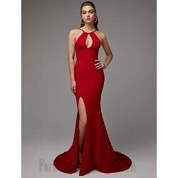 Mermaid/Trumpet Keyhole Neck Sweep/Brush Train Red Front Slit Open Back Sleeveless Formal Dress