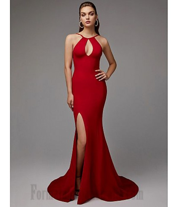 Mermaid/Trumpet Keyhole Neck Sweep/Brush Train Red Front Slit Open Back Sleeveless Formal Dress New