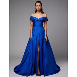Ball Gown Off The Shoulder Royaal Blue Satin Front Slit Zipper Back Formal Dress Evening Gown PartyDress