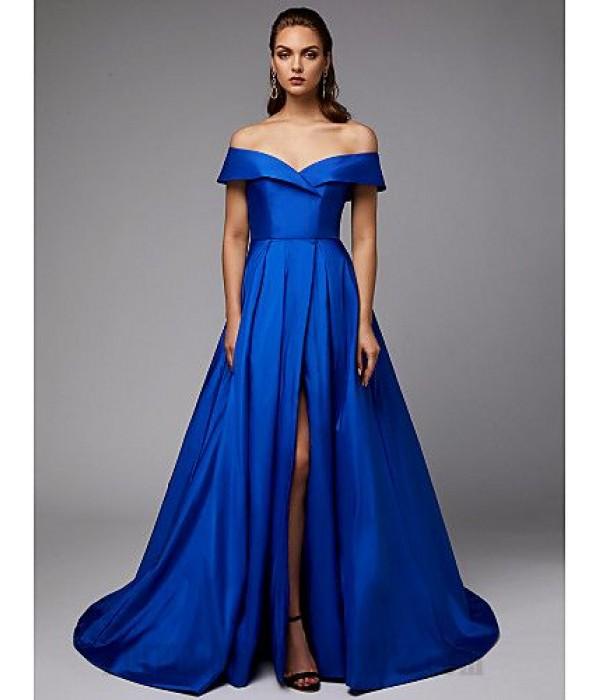 Ball Gown Off The Shoulder Royaal Blue Satin Front Slit Zipper Back Formal Dress Evening Gown PartyDress New
