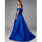 Ball Gown Off The Shoulder Royaal Blue Satin Front Slit Zipper Back Formal Evening/Party Dress New