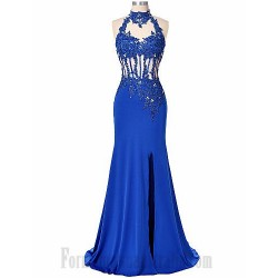 High Neck Long Blue Mwrmaid Front Slit Blackless Formal Dress Evening Gowns With Lace Appliques Sequins
