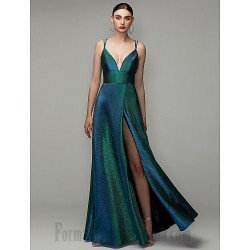 A Line Spaghetti Straps Sequined Sparkle &Amp; Shine Lace Up Slit Formal Dress Evening Dress