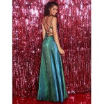 A-Line Spaghetti Straps Sequined Sparkle & Shine Lace-Up Slit Formal Dress Evening Gowns New