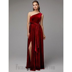 A-Line Floor Length One Shoulder Red  Evening Dress Zipper Backling Front Slit Sashes Sleeveless Formal Prom Dress