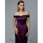 A-Line Long Purple Satin Off The Shoulder Slit Formal Dress Party Dress New