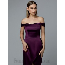 A-Line Long Purple Satin Off The Shoulder Slit Formal Party Dress