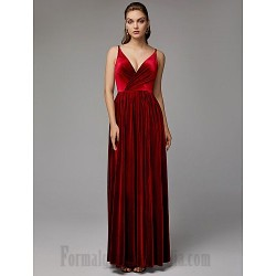A-Line Floor Length Spaghetti Straps Zipper Back Formal Evening Dress With Ruched