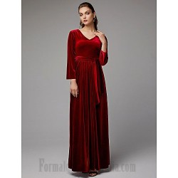 A-Line Floor Length V-Neck Long Sleeves Zipper Back Formal Prom Dress With Sashes