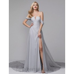 A-Line Off The Shoulder Court/Train Silver Satin Side Slit Formal Dress Evening Dress