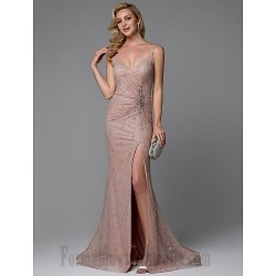 Mermaid/Trumpet Spaghetti Straps Sequined Sparkle & Shine Front Slit V-Neck Formal Evening Dress With Beading