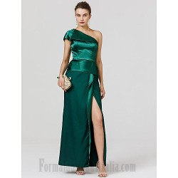 A Line One Shoulder Green Satin Ankle Length Evening Dress Zipper Back Front Slit Formal Dress