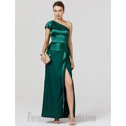 A-Line One Shoulder Green Satin Ankle-Length Evening Dress Zipper Back Front Slit Formal Dress