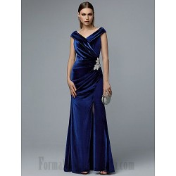 A Line Floor Length Royal Blue Velvet Party Dress Zipper Back V Neck Front Slit Formal Cocktail Prom Dress With Appliques
