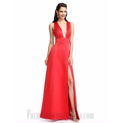 A Line Floor Length Satin Plunging Neckling Zipper Up Back Side Slit Formal Dress Evening Gown Partydress With Pockets