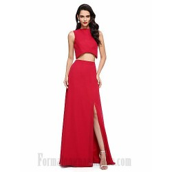 Floor Length Satin Jewel-Neck  Side Slit Two Piece Formal Dress