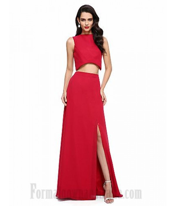 Floor Length Satin Jewel-Neck Side Slit Two Piece Formal Dress New