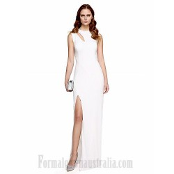 Elegent Floor Length White Satin Zipper-Up Back Side Slit Formal Dress Evening Gown PartyDress