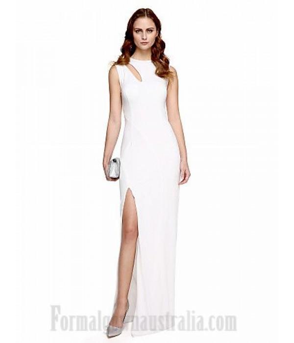Elegent Floor Length White Satin Zipper-Up Back Side Slit Formal Dress Evening Gown PartyDress New