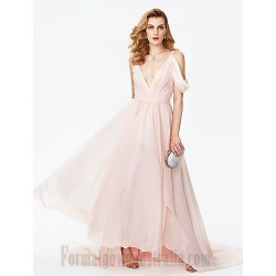 Mermaid Trumpet Spaghetti Straps Sweep Brush Train V Neck Pearl Pink Chiffon Formal Dress Evening Dress