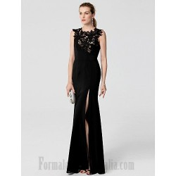 A-Line Floor Length Black Lace Lllusion Neck Front Slit Formal Evening Dress With Appliques