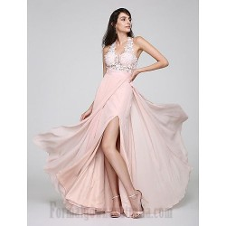 Australia A Line V Neck Lace Up Pearl Pink Side Slit Formal Dress Party Dress